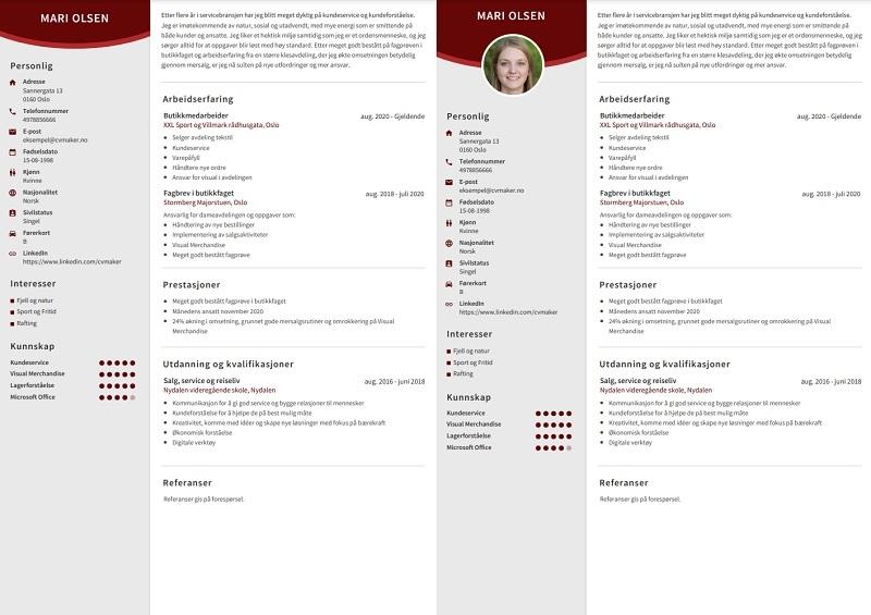 Våre CV-maler tilpasser seg automatisk!