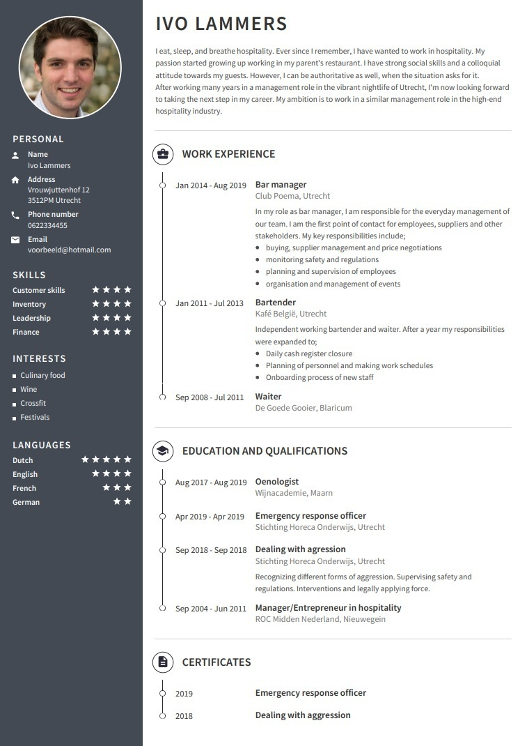 CV English template NO